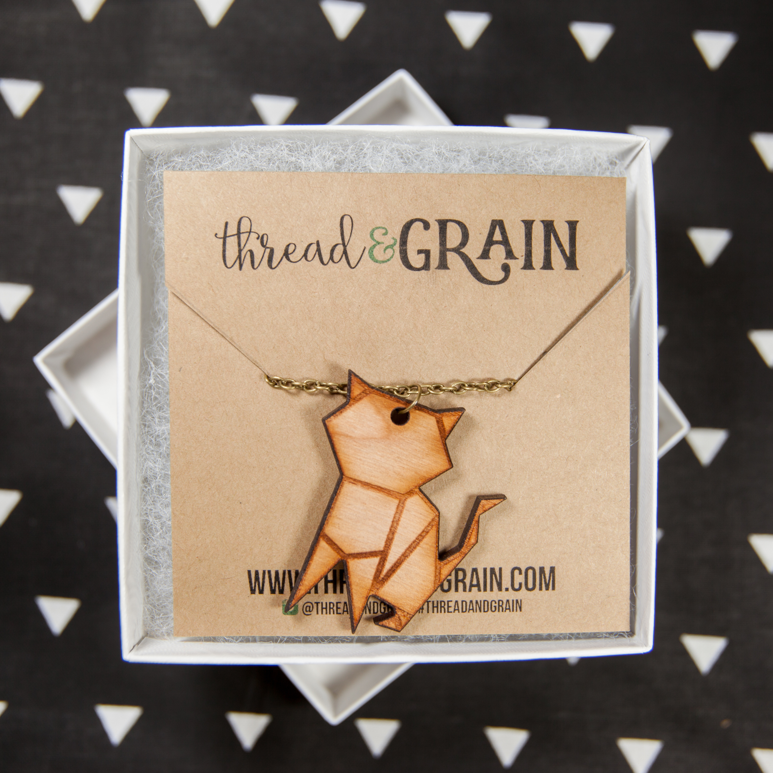 Origami Cat WOODEN NECKLACE