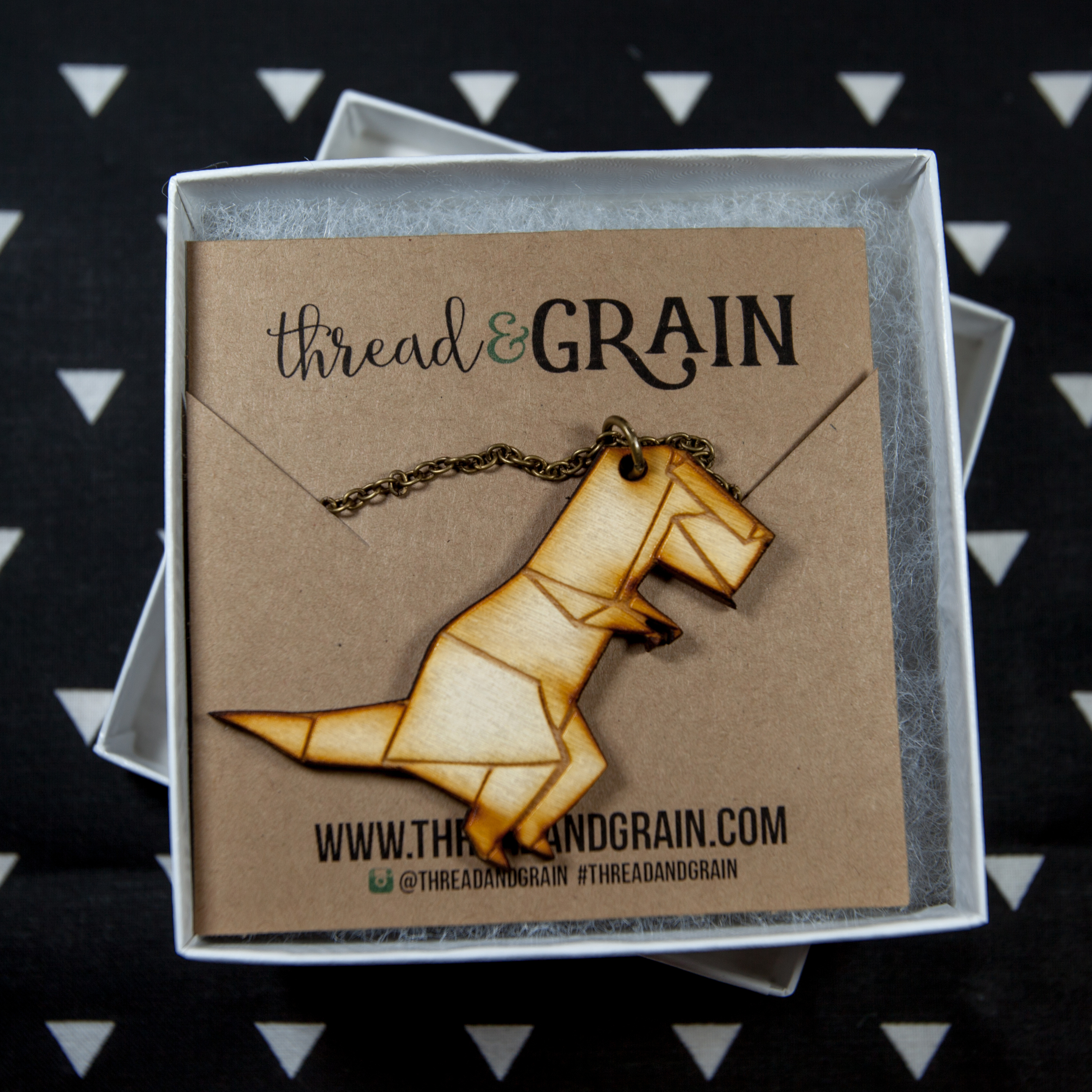 Origami TRex WOODEN NECKLACE