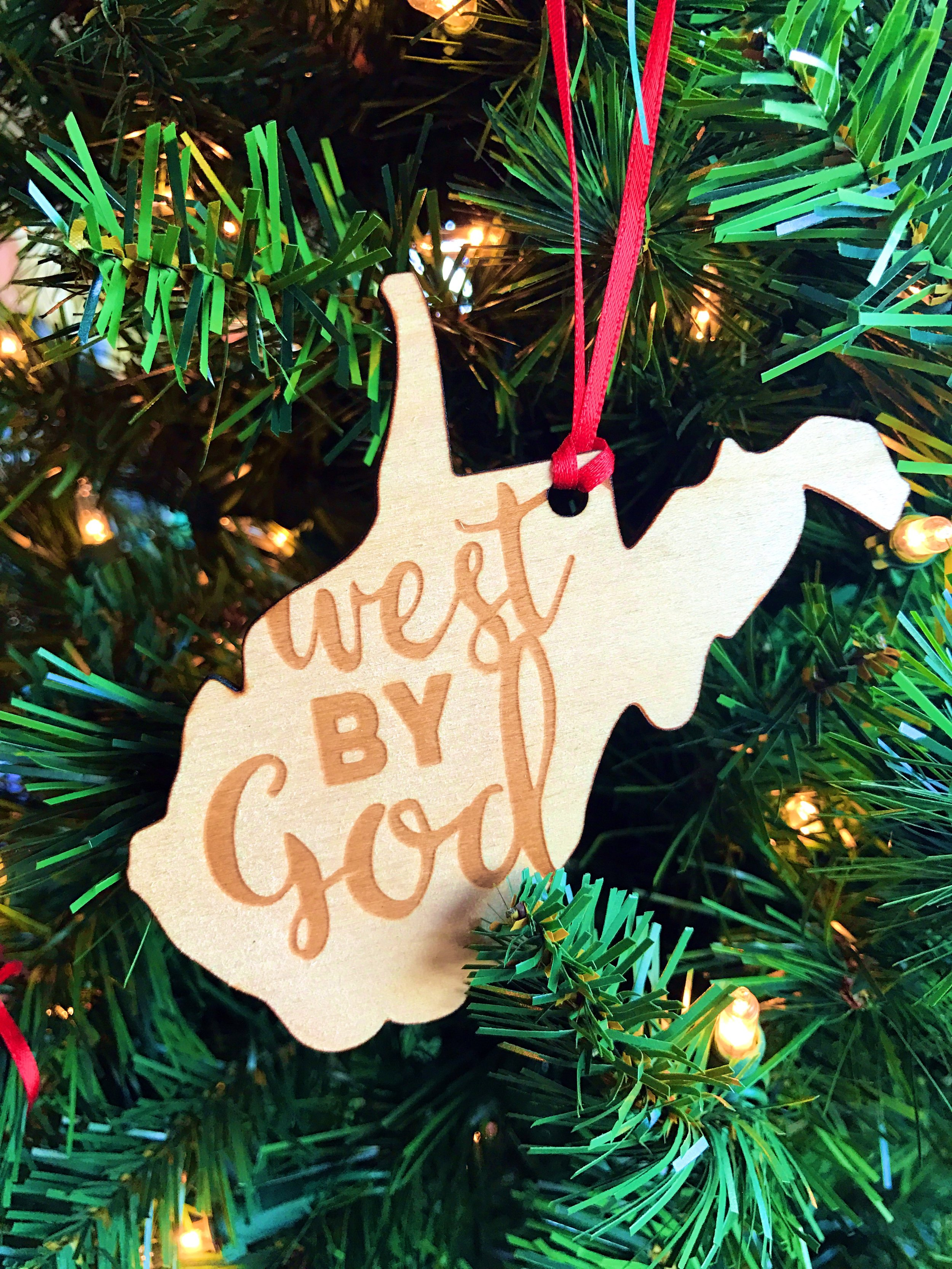 West By God :: Wooden Laser Cut/Engraved Christmas Ornament