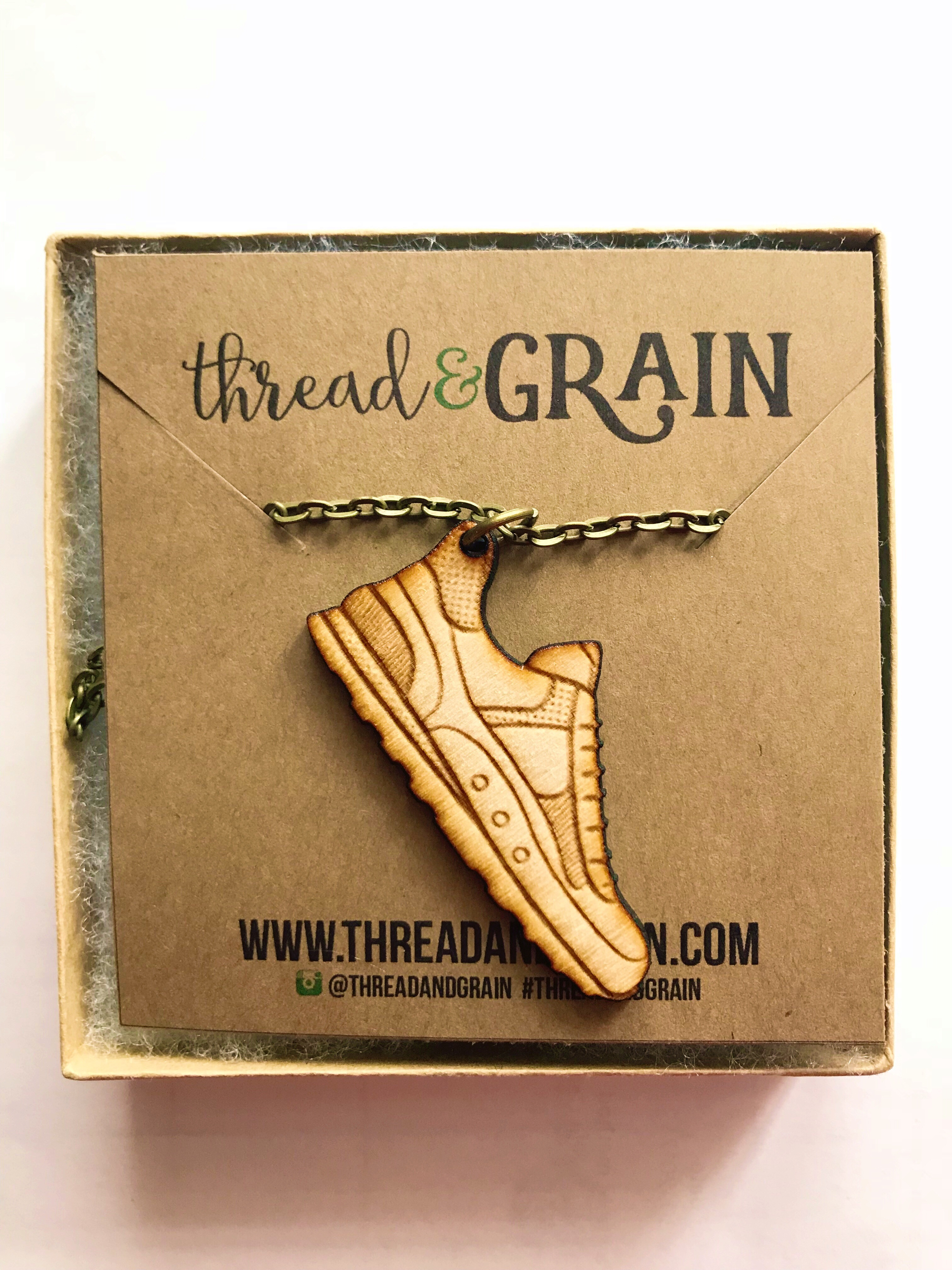 Running Shoe WOODEN NECKLACE