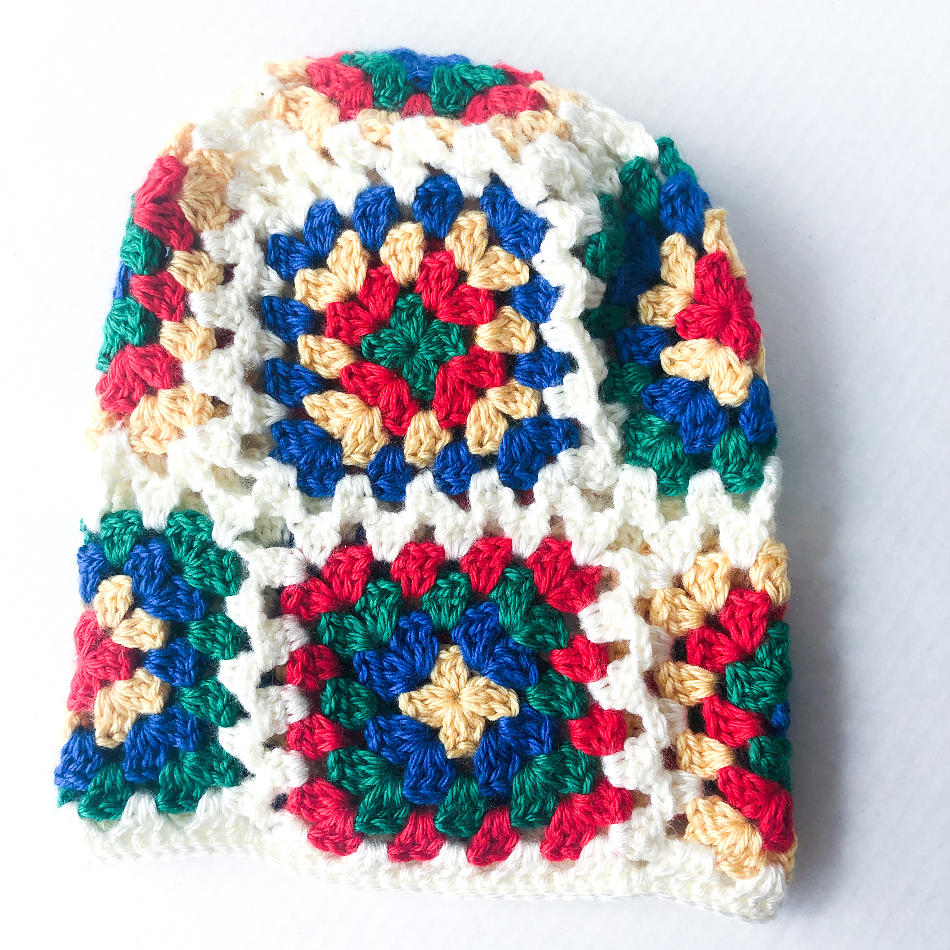 Primary Granny Square Slouchy Cap :: Hand-Crocheted Hat (Adult Sized)