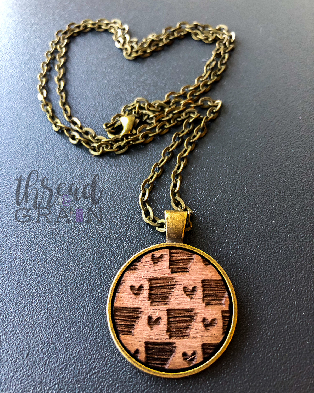 Arkansas :: Laser Engraved, Wooden, Disc-Mounted Necklace