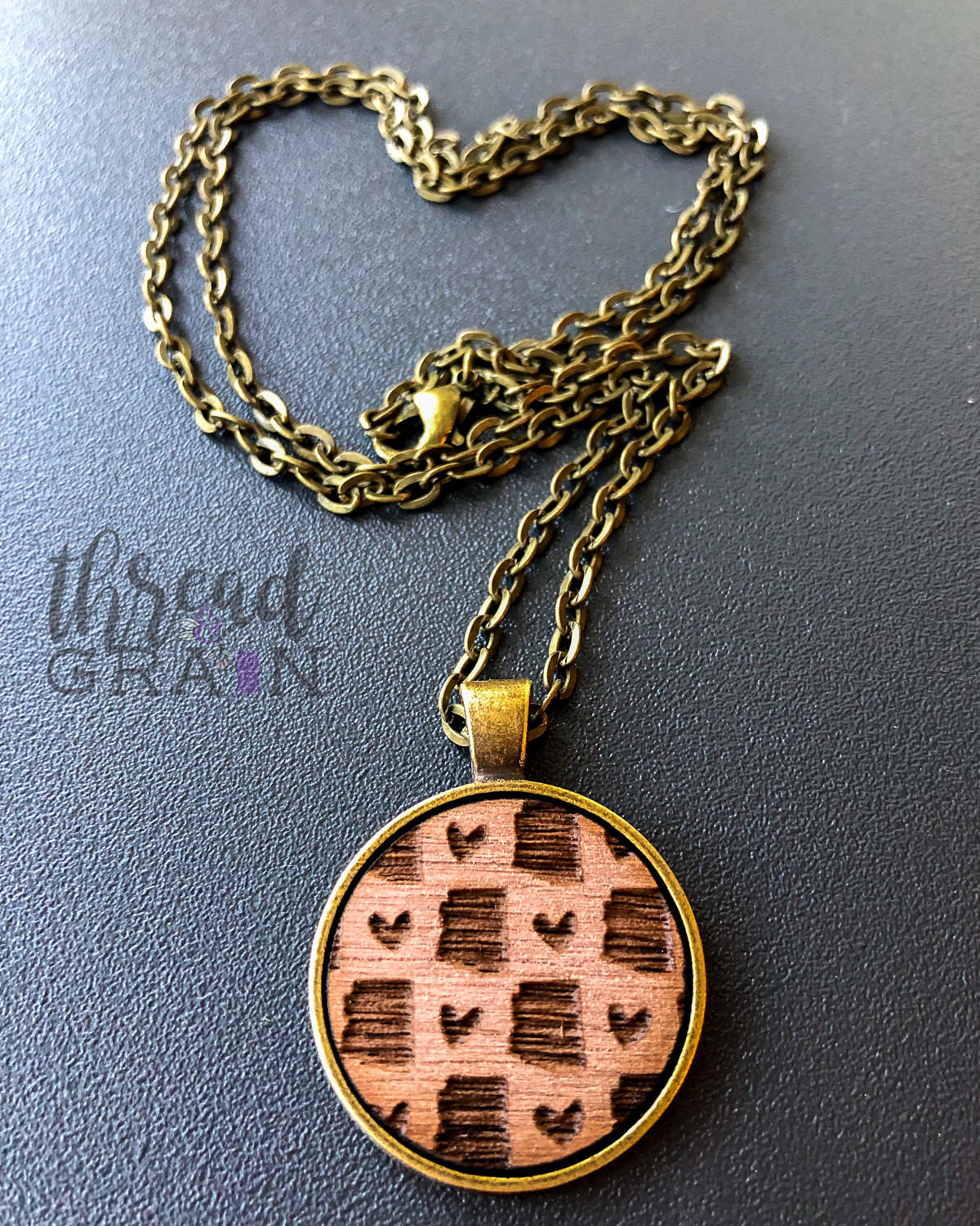 Arizona :: Laser Engraved, Wooden, Disc-Mounted Necklace