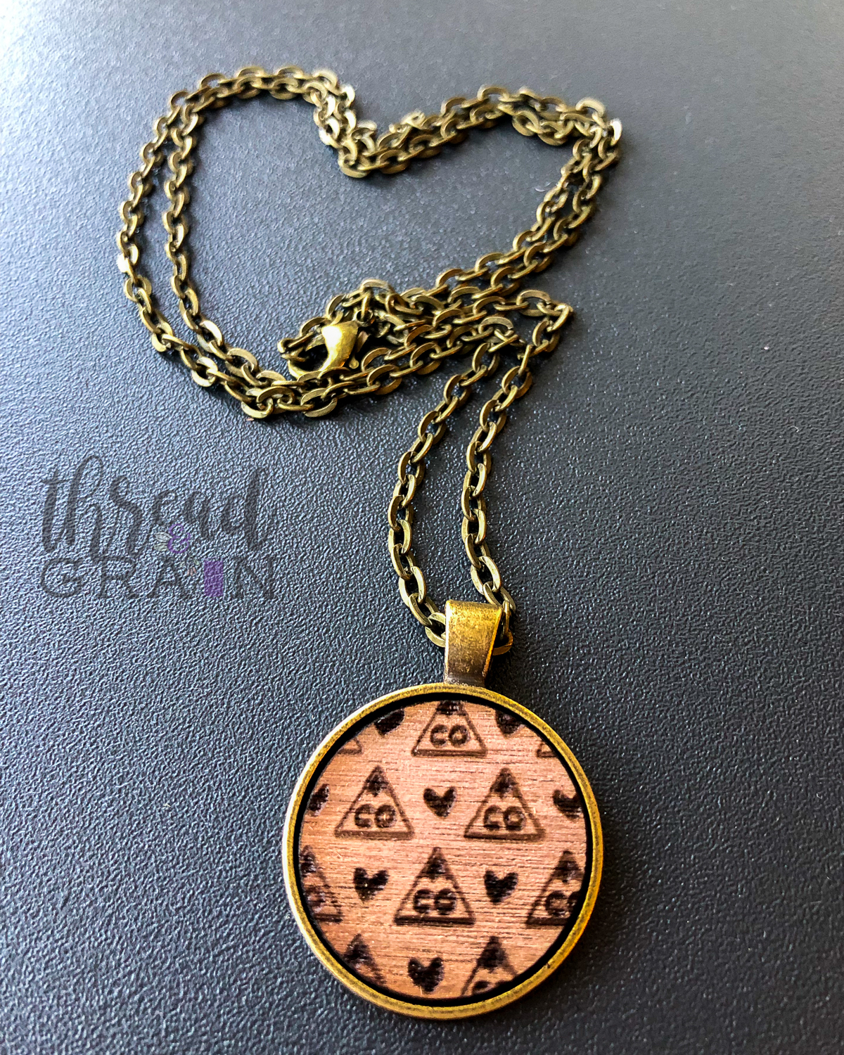 Colorado :: Laser Engraved, Wooden, Disc-Mounted Necklace