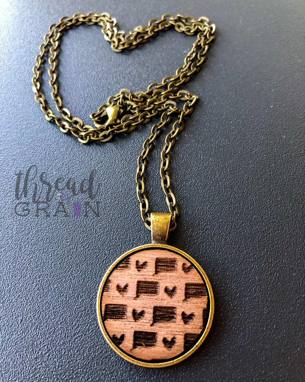Connecticut :: Laser Engraved, Wooden, Disc-Mounted Necklace