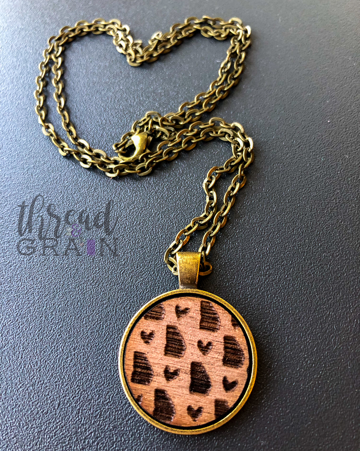 Georgia :: Laser Engraved, Wooden, Disc-Mounted Necklace