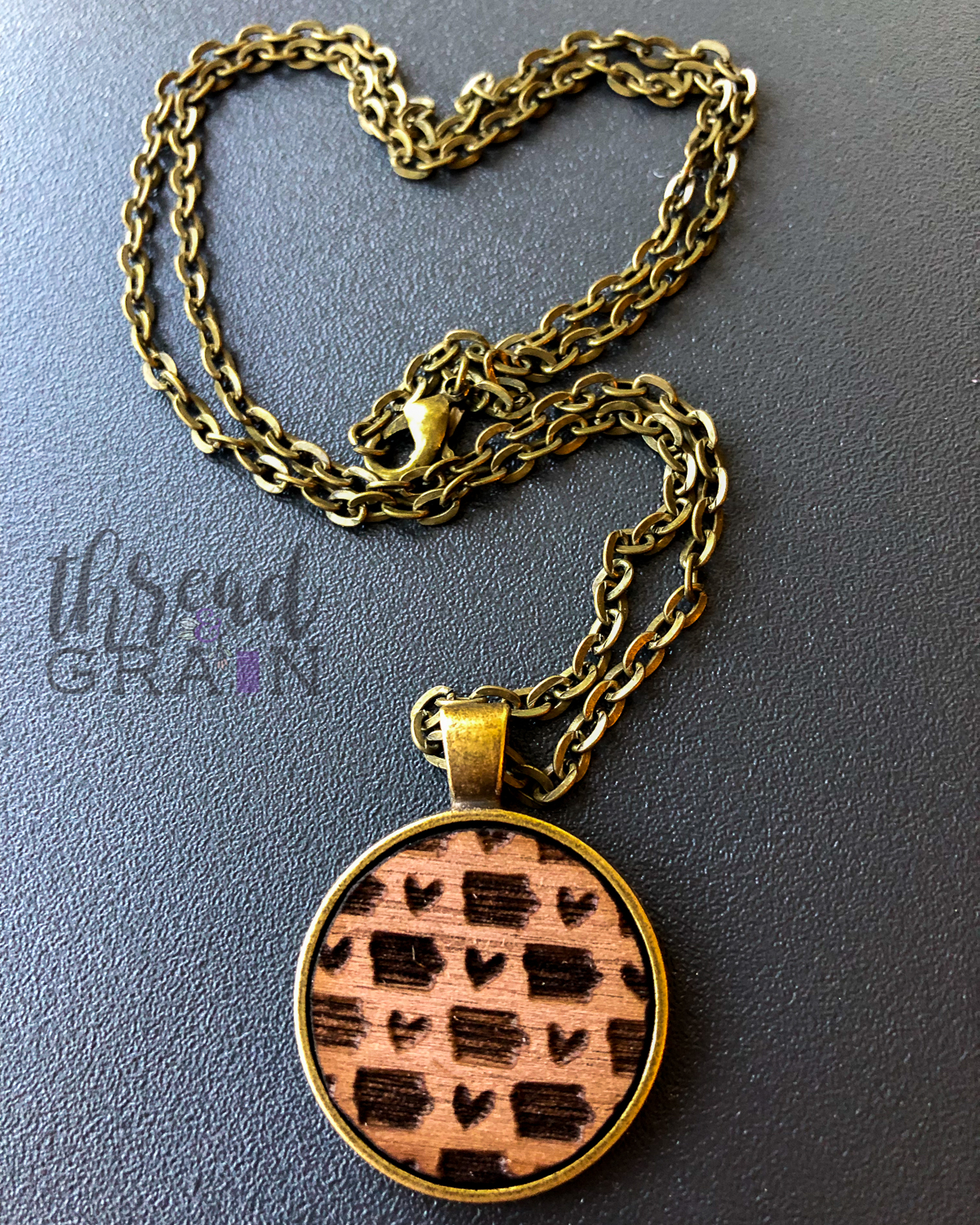 Iowa :: Laser Engraved, Wooden, Disc-Mounted Necklace
