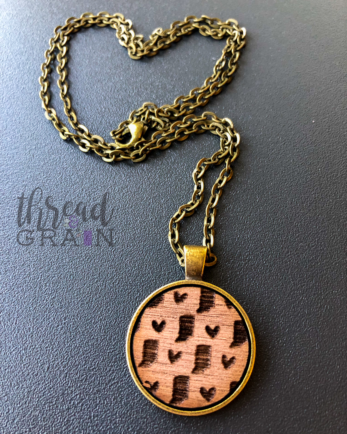 Indiana :: Laser Engraved, Wooden, Disc-Mounted Necklace
