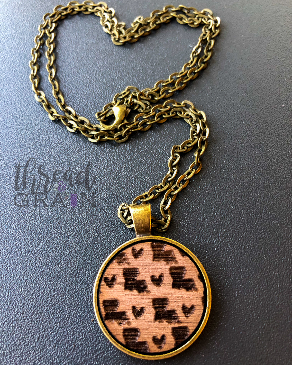 Louisiana :: Laser Engraved, Wooden, Disc-Mounted Necklace