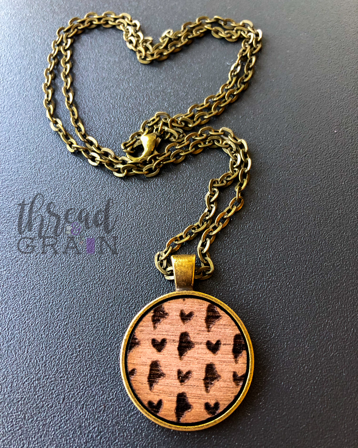 Maine :: Laser Engraved, Wooden, Disc-Mounted Necklace