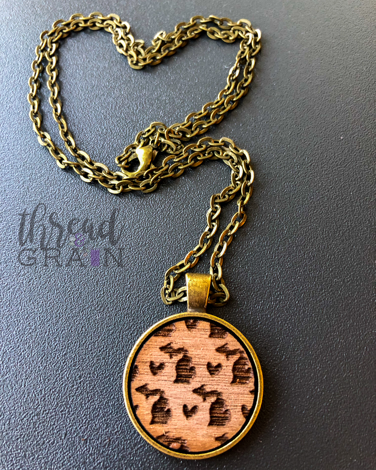 Michigan :: Laser Engraved, Wooden, Disc-Mounted Necklace