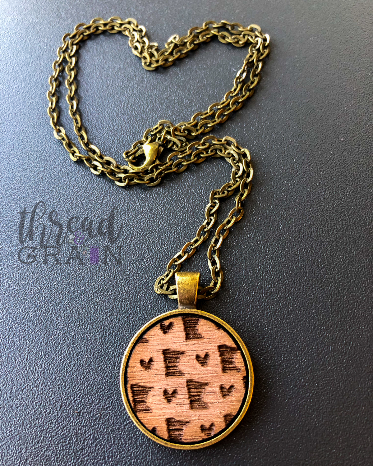 Minnesota :: Laser Engraved, Wooden, Disc-Mounted Necklace