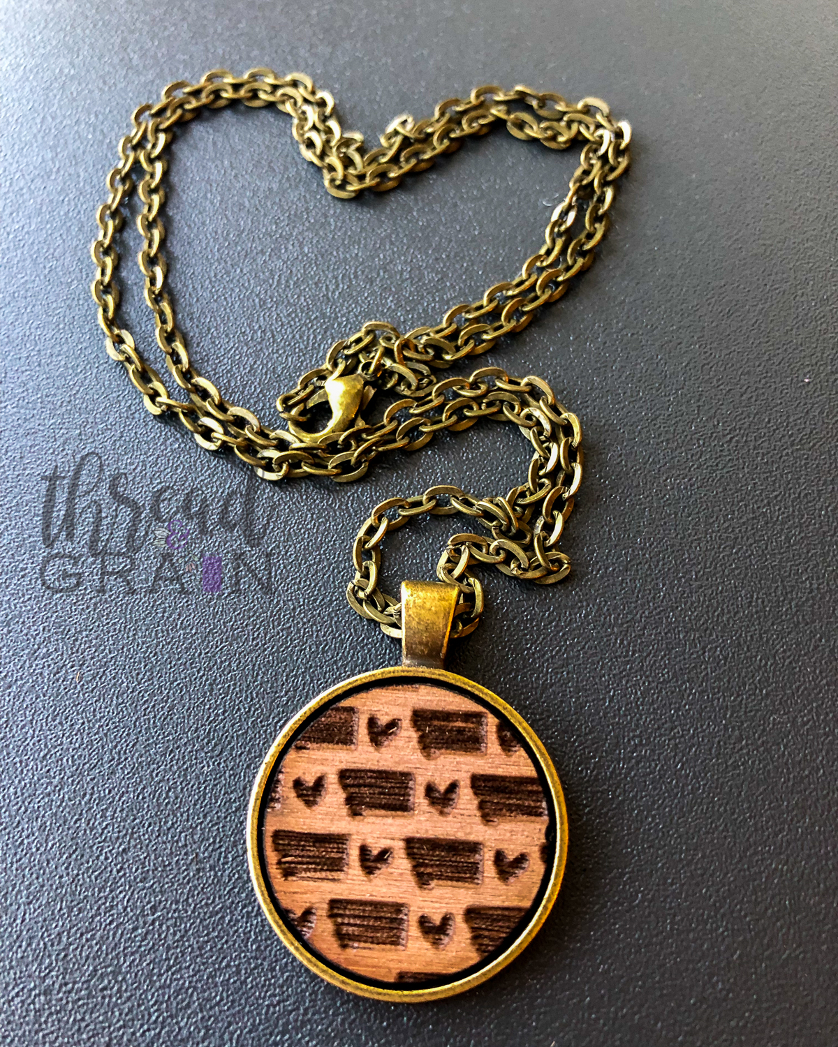 Montana :: Laser Engraved, Wooden, Disc-Mounted Necklace