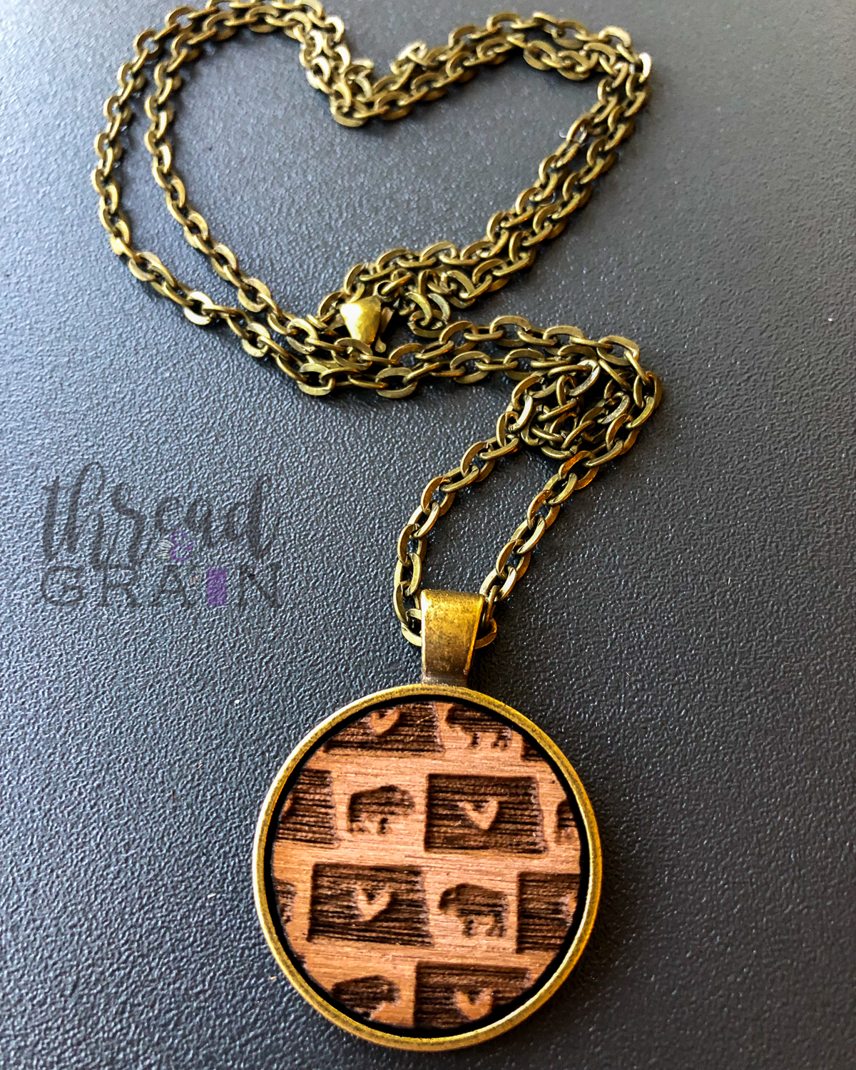 North Dakota :: Laser Engraved, Wooden, Disc-Mounted Necklace
