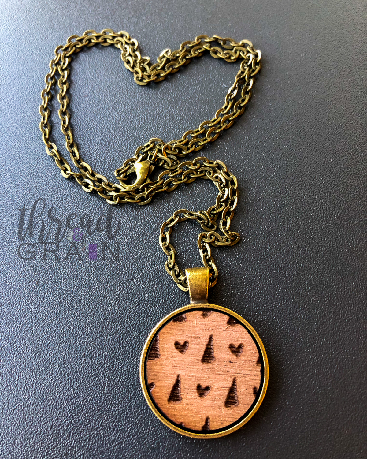 New Hampshire :: Laser Engraved, Wooden, Disc-Mounted Necklace