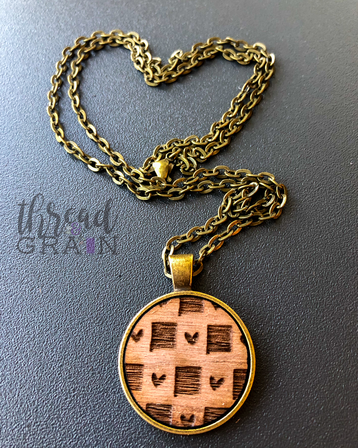 New Mexico :: Laser Engraved, Wooden, Disc-Mounted Necklace