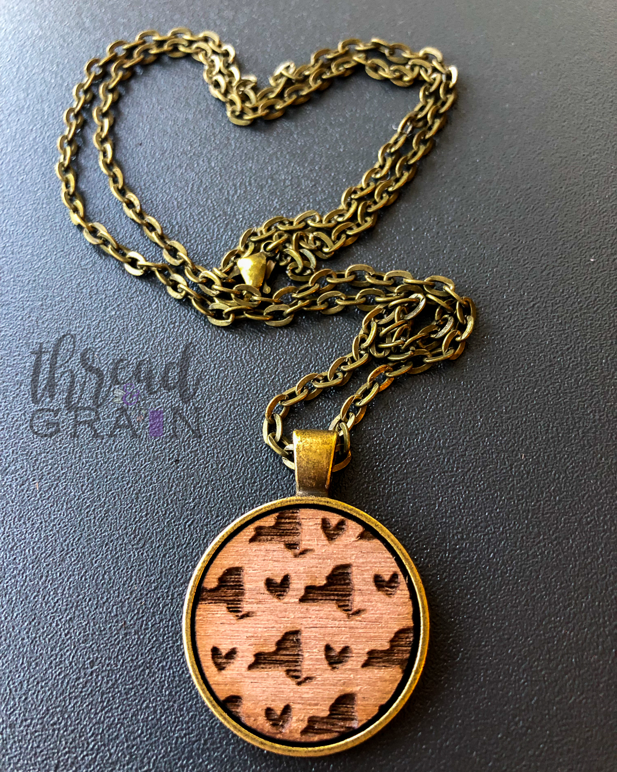 New York :: Laser Engraved, Wooden, Disc-Mounted Necklace