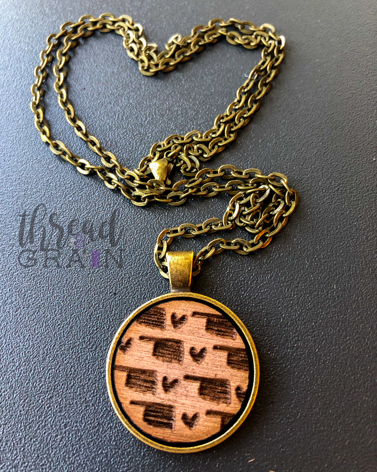 Oklahoma :: Laser Engraved, Wooden, Disc-Mounted Necklace