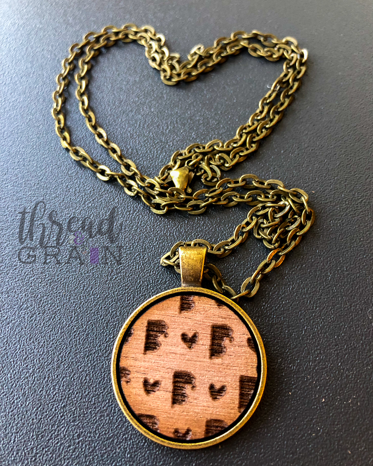 Rhode Island :: Laser Engraved, Wooden, Disc-Mounted Necklace