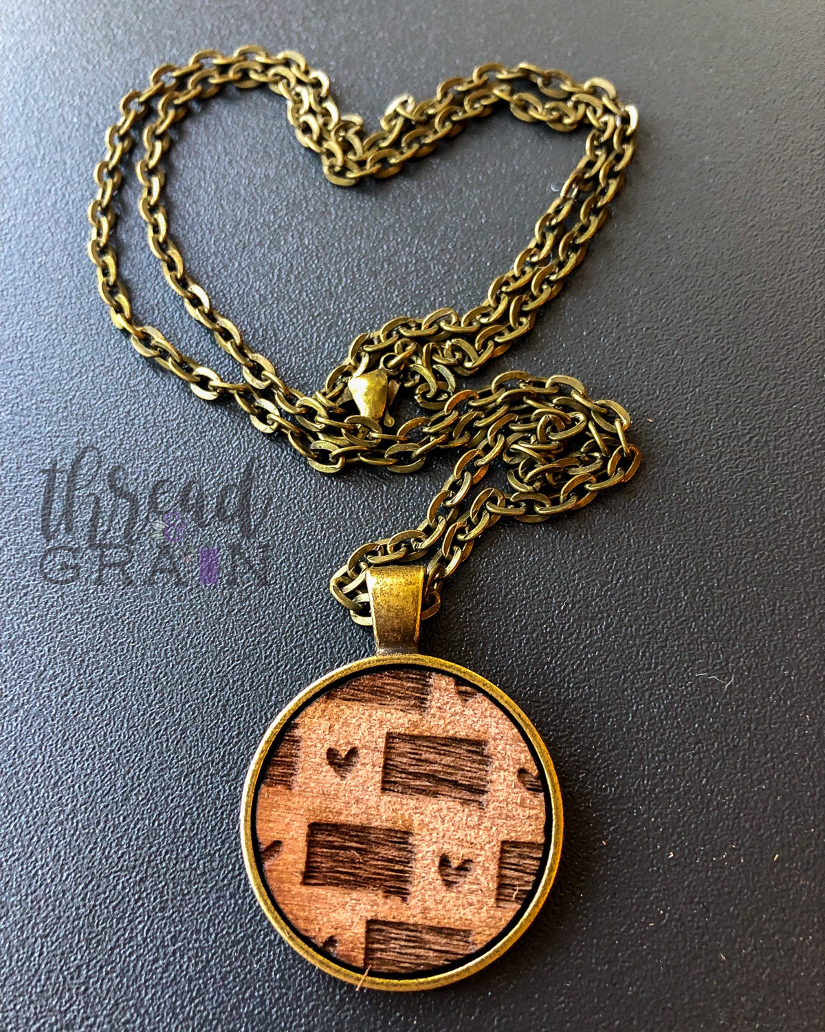 South Dakota :: Laser Engraved, Wooden, Disc-Mounted Necklace