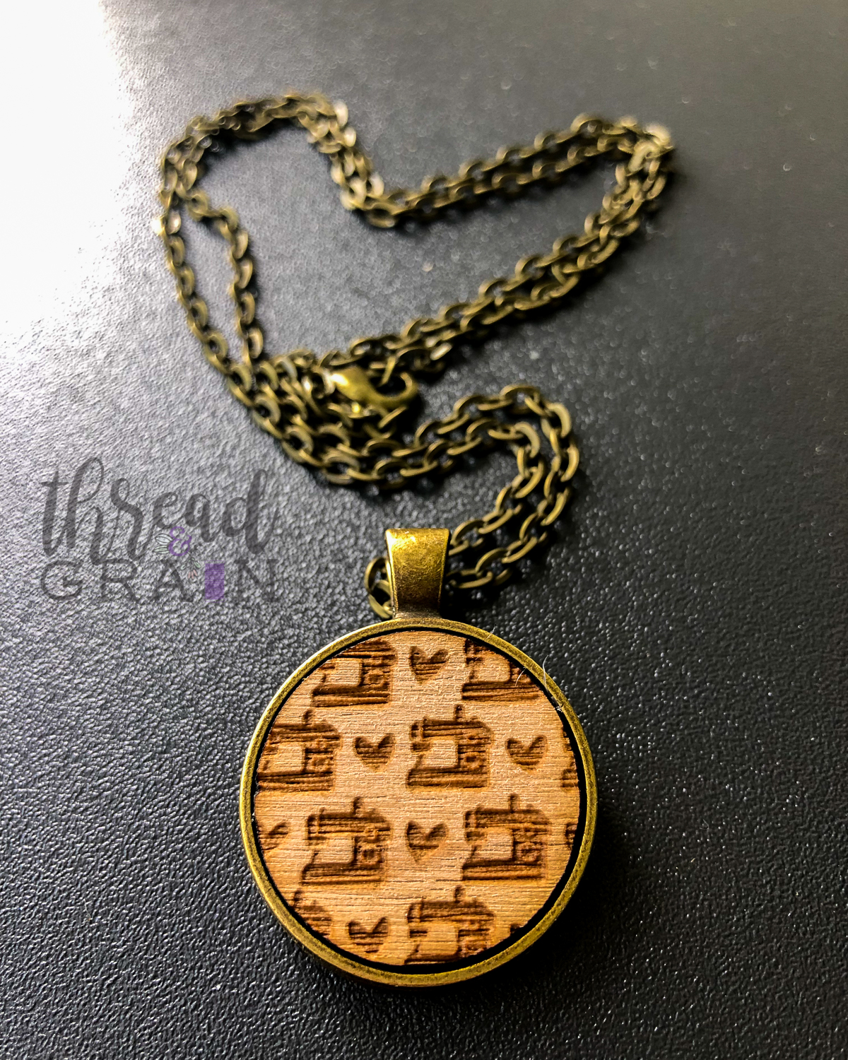 Sewing Love :: Laser Engraved, Wooden, Disc-Mounted Necklace