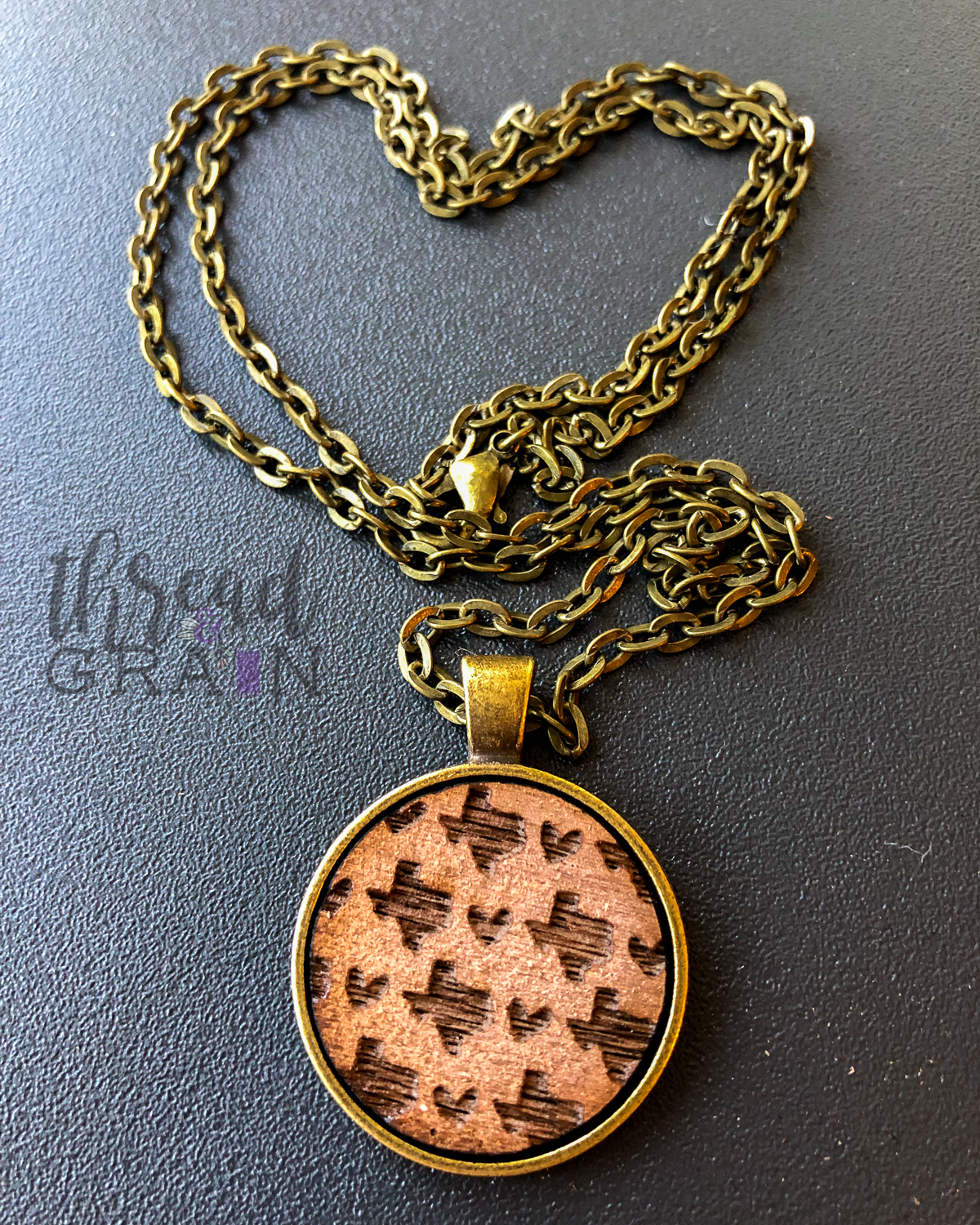 Texas :: Laser Engraved, Wooden, Disc-Mounted Necklace