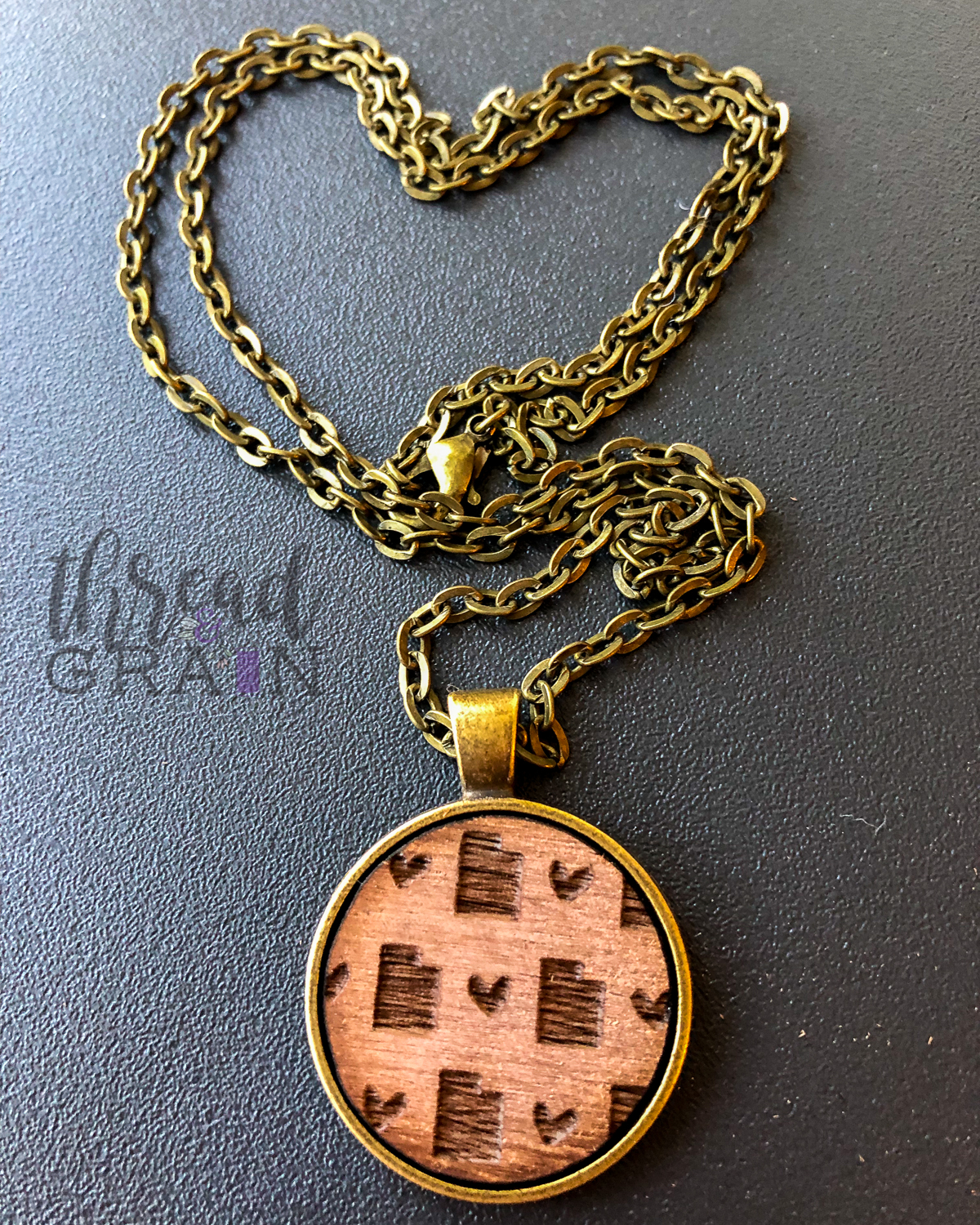 Utah :: Laser Engraved, Wooden, Disc-Mounted Necklace