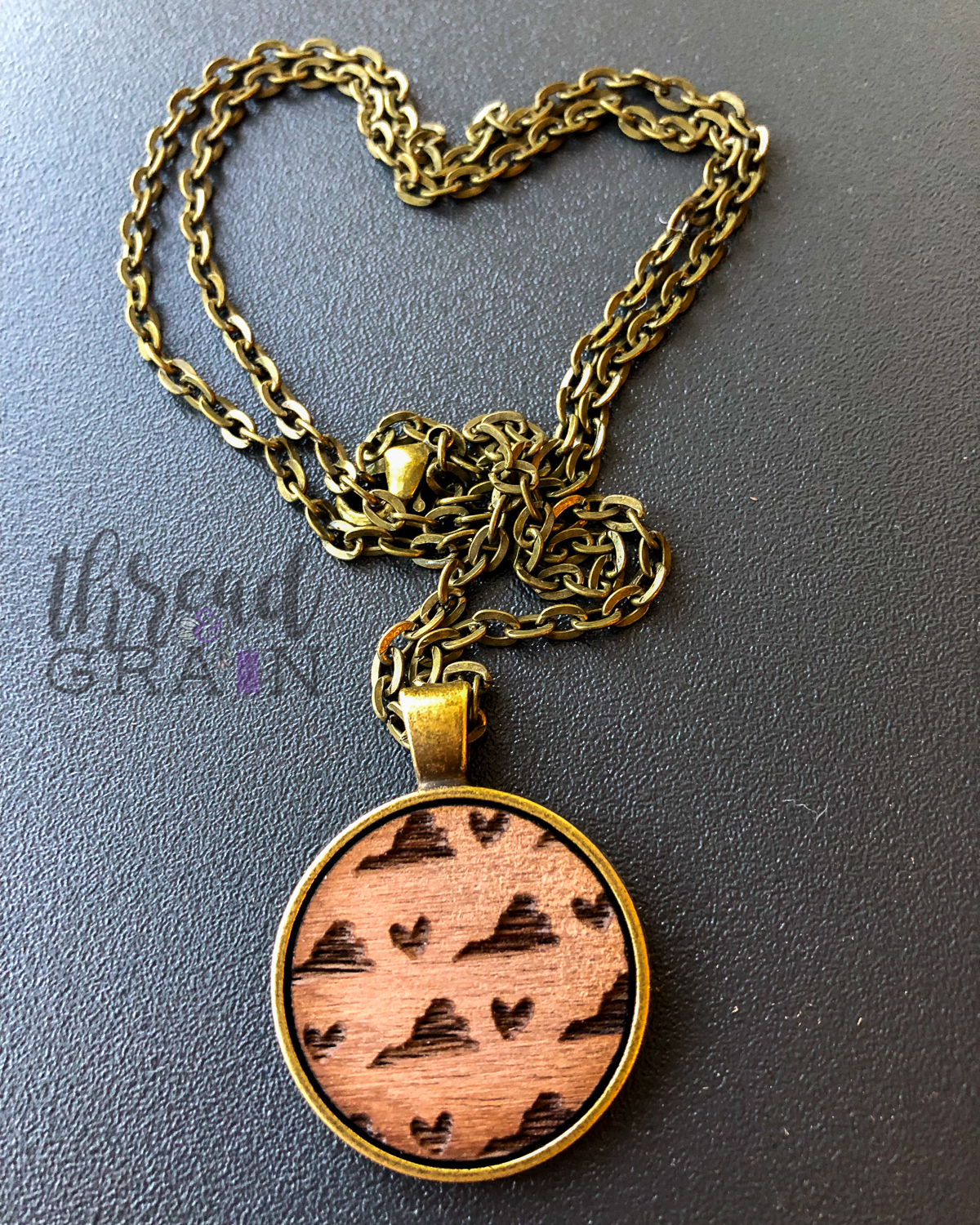 Virginia :: Laser Engraved, Wooden, Disc-Mounted Necklace