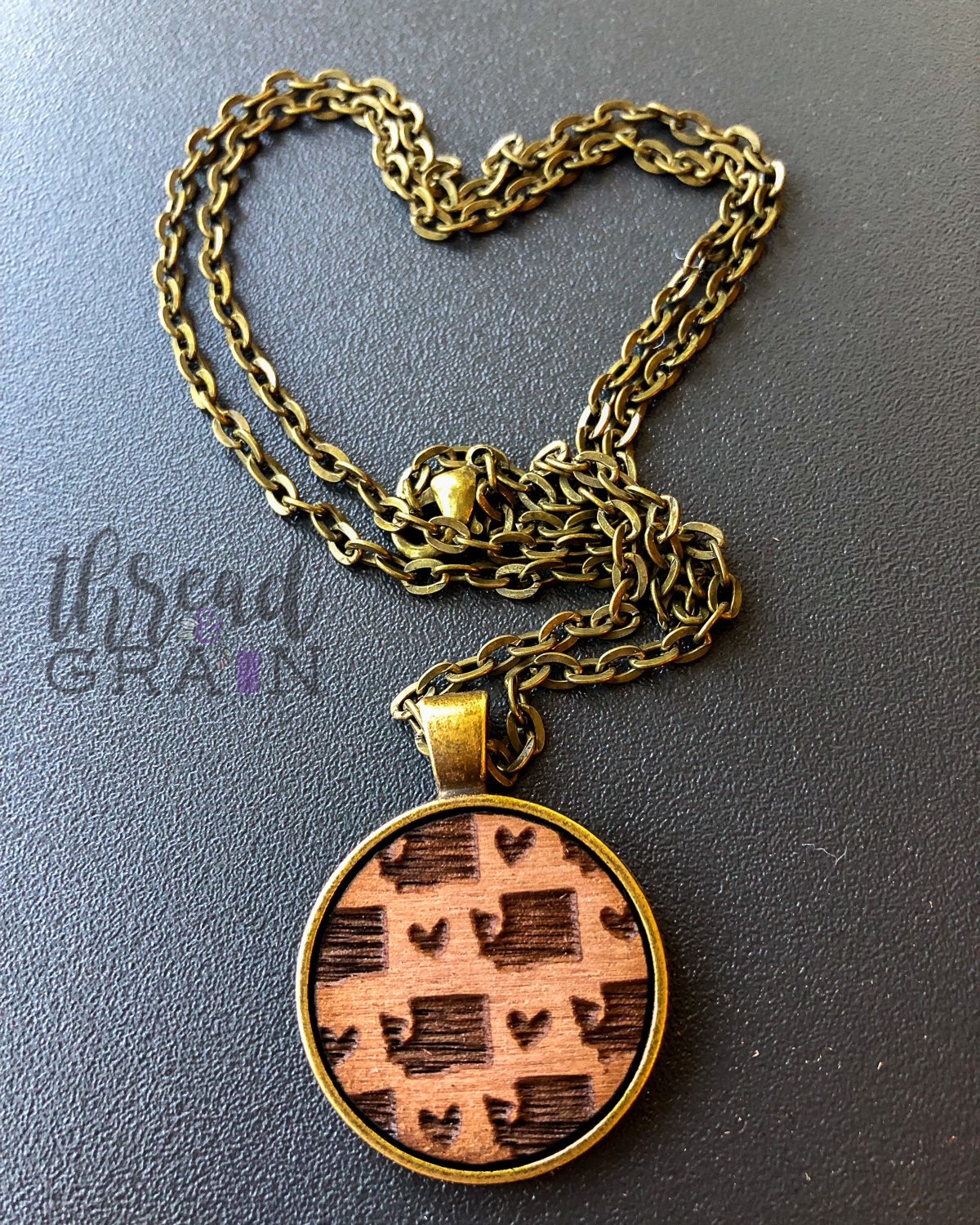 Washington :: Laser Engraved, Wooden, Disc-Mounted Necklace