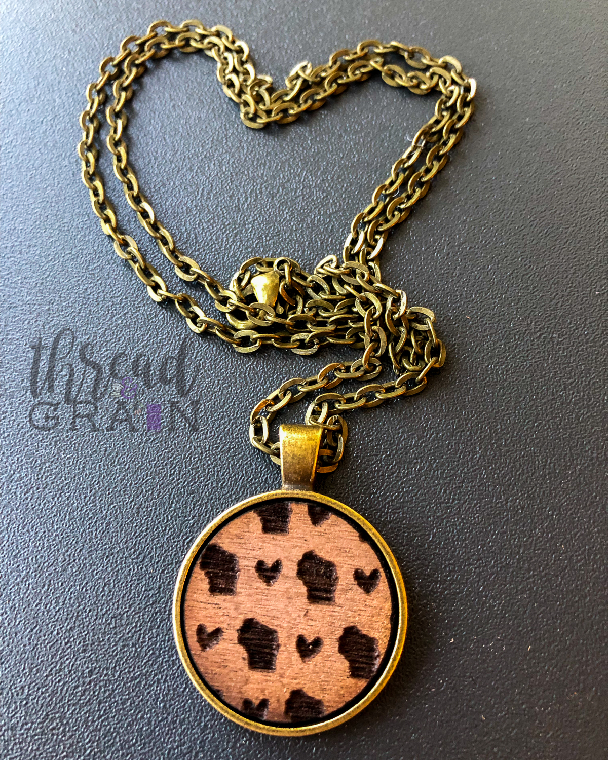Wisconsin :: Laser Engraved, Wooden, Disc-Mounted Necklace