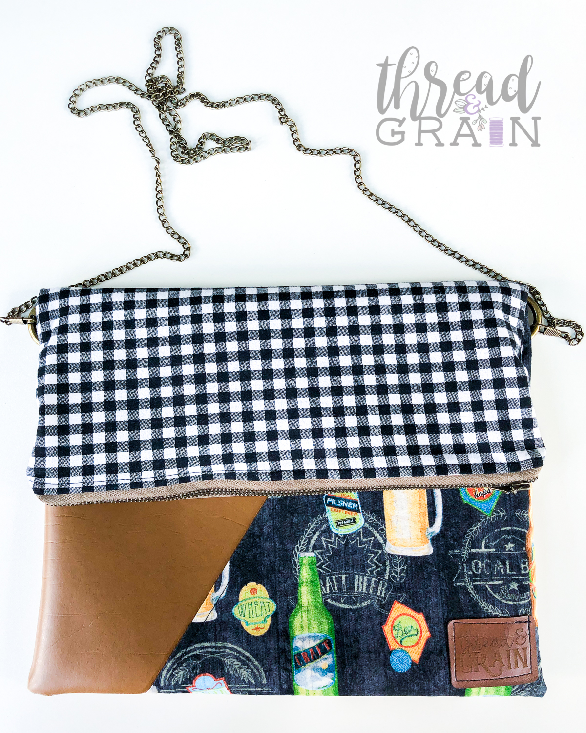 Evelyn Fold-Over Clutch :: Craft Brews + Gingham