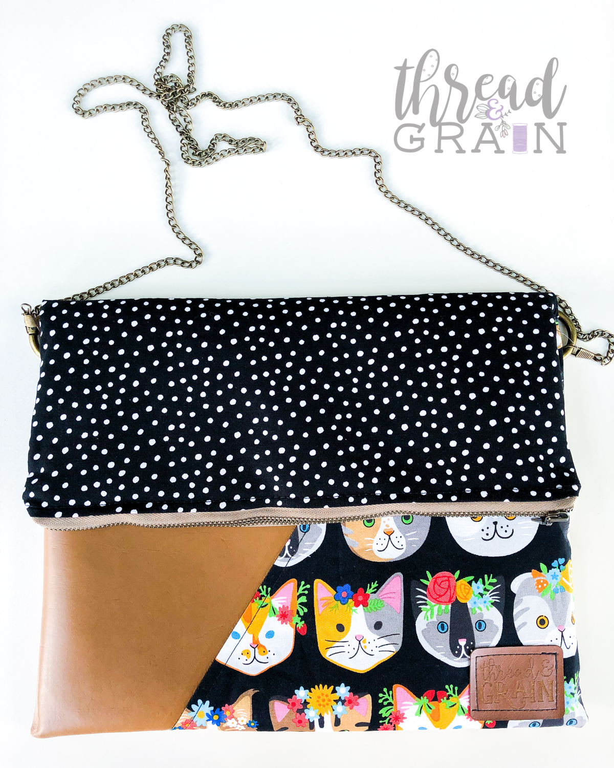 Evelyn Fold-Over Clutch :: Kitties + Dots
