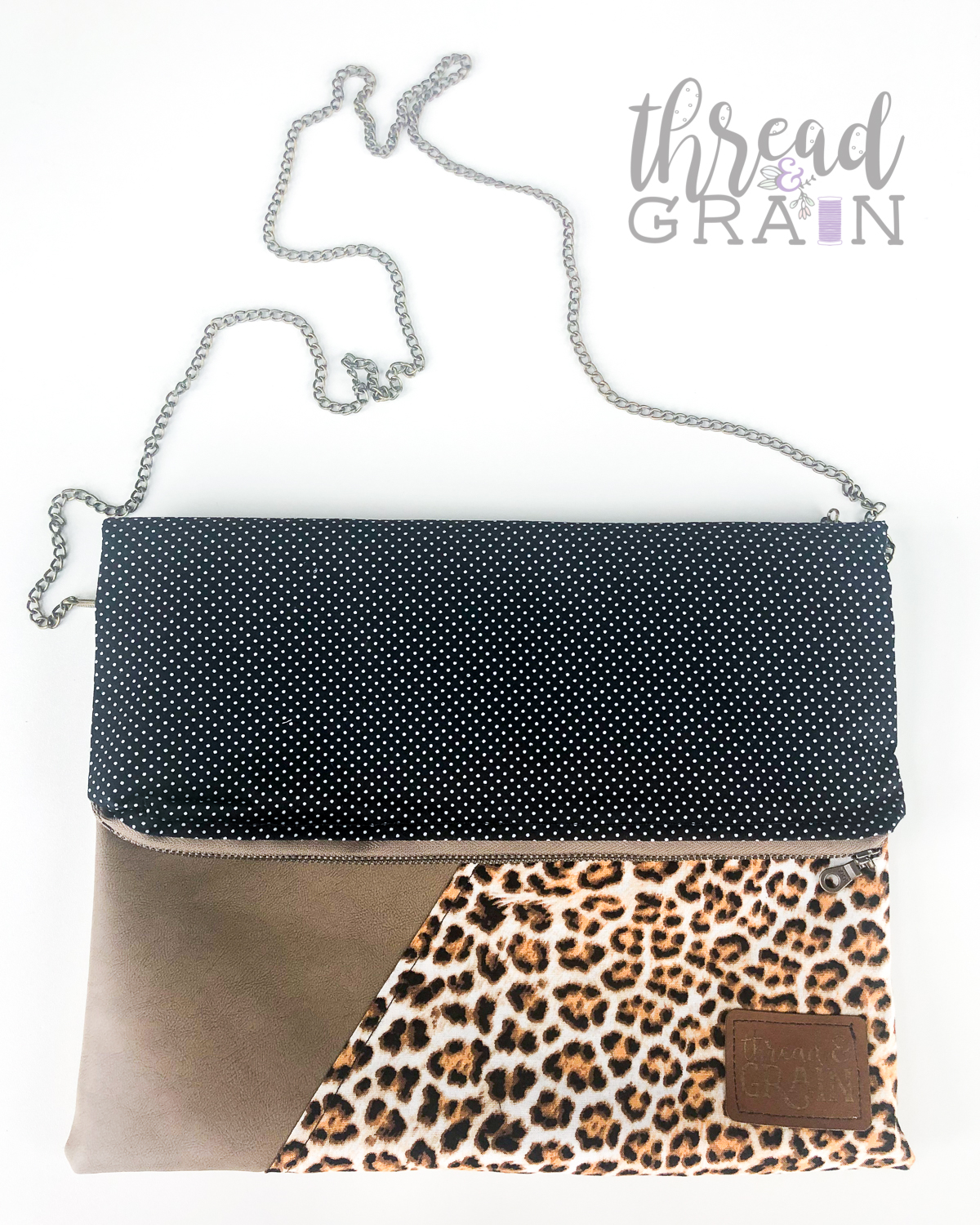Evelyn Fold-Over Clutch :: Leopard + Small Dots