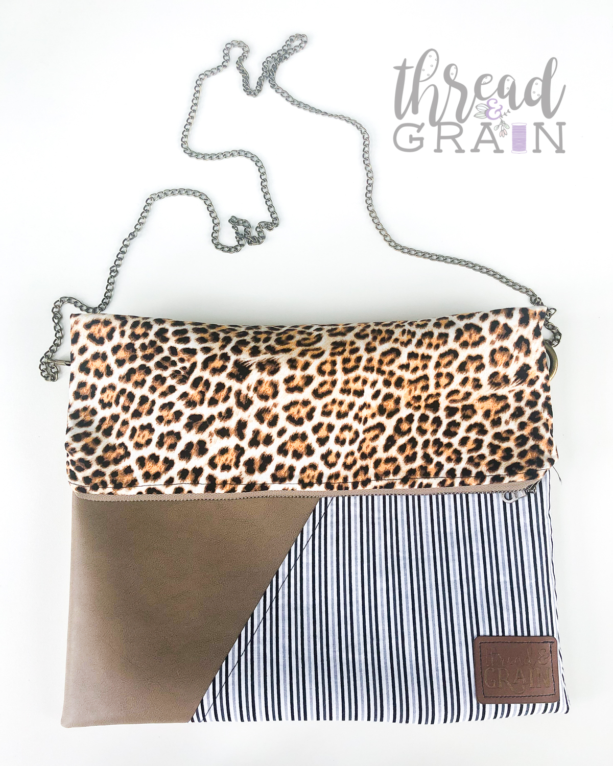 Evelyn Fold-Over Clutch :: Stripes + Leopard