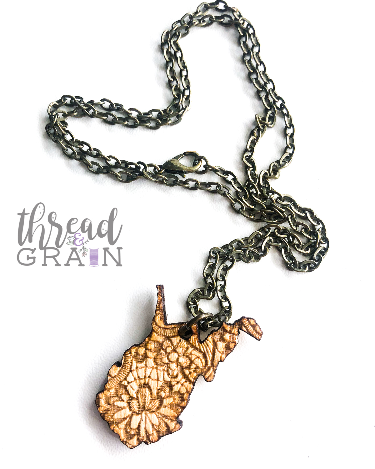 West Virginia :: Lace Detailed, Laser Engraved, Wooden Necklace