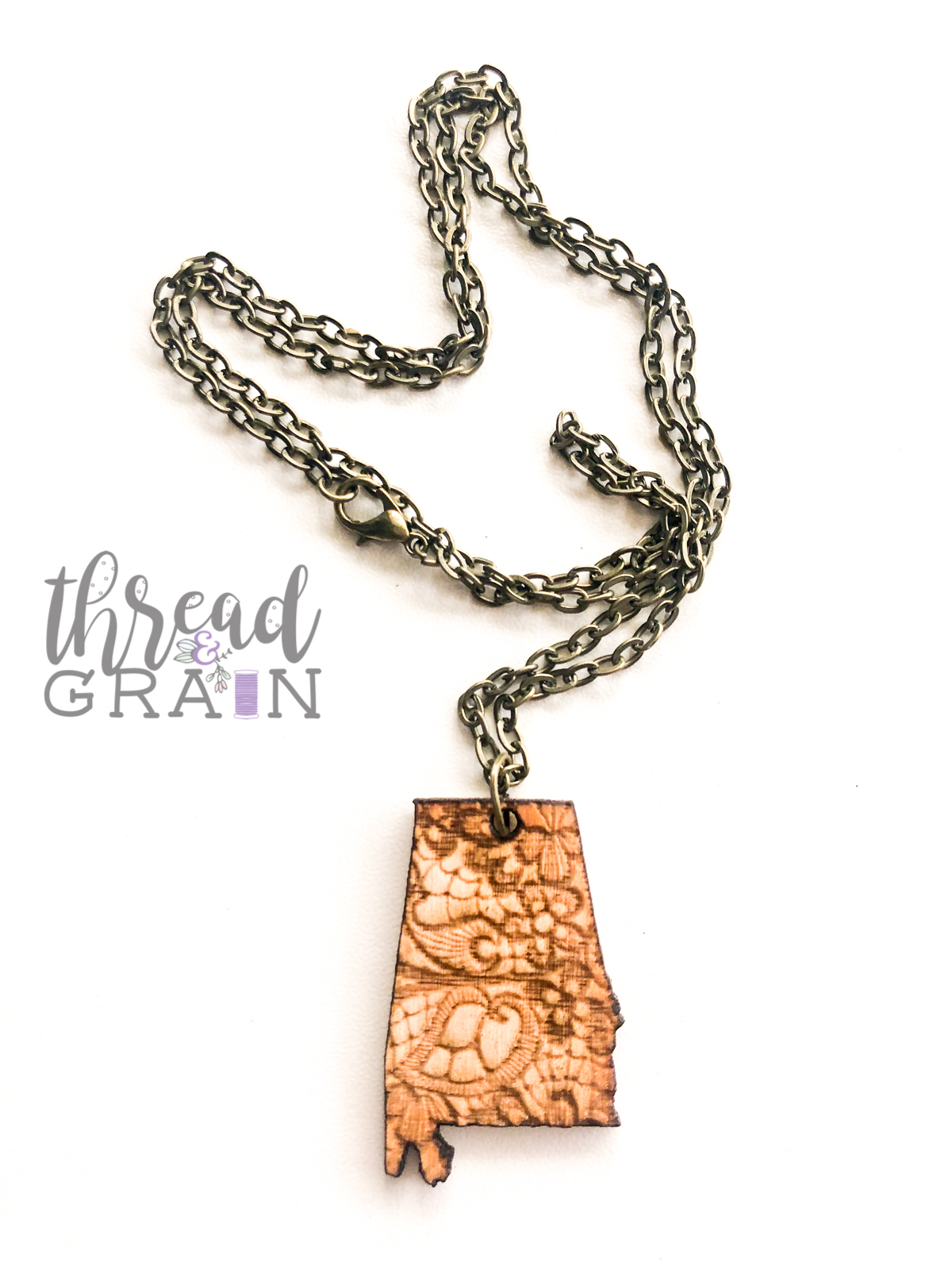 Alabama :: Lace Detailed, Laser Engraved, Wooden NECKLACE