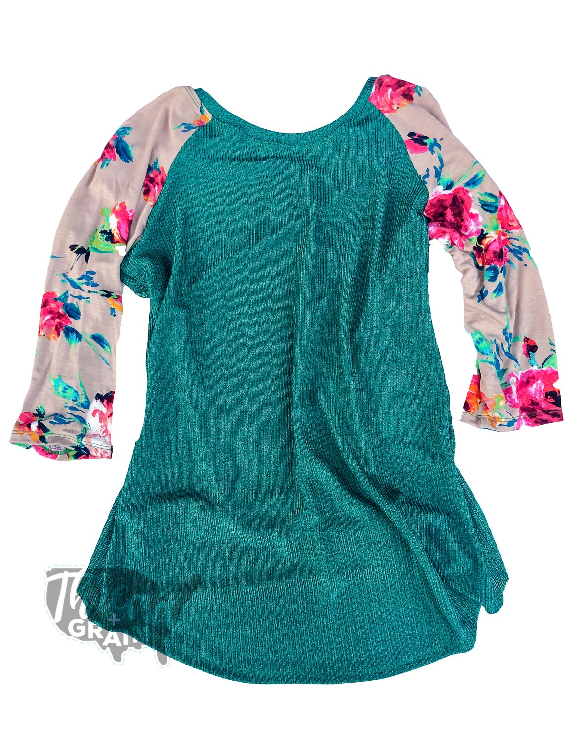 Metallic Green + Floral | Custom Sewn Women's Raglan
