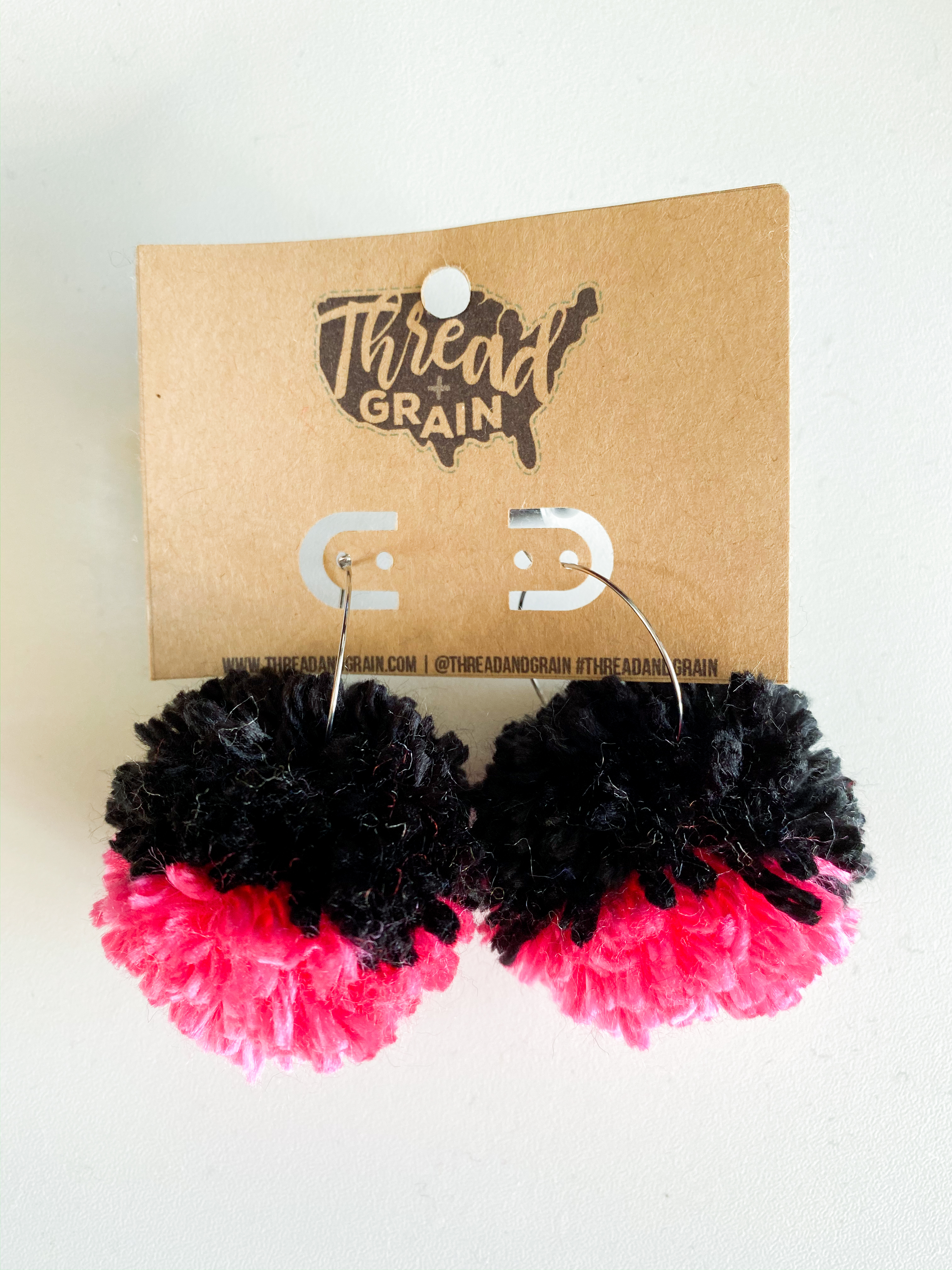 Hot Pink + Black PomPom Earrings