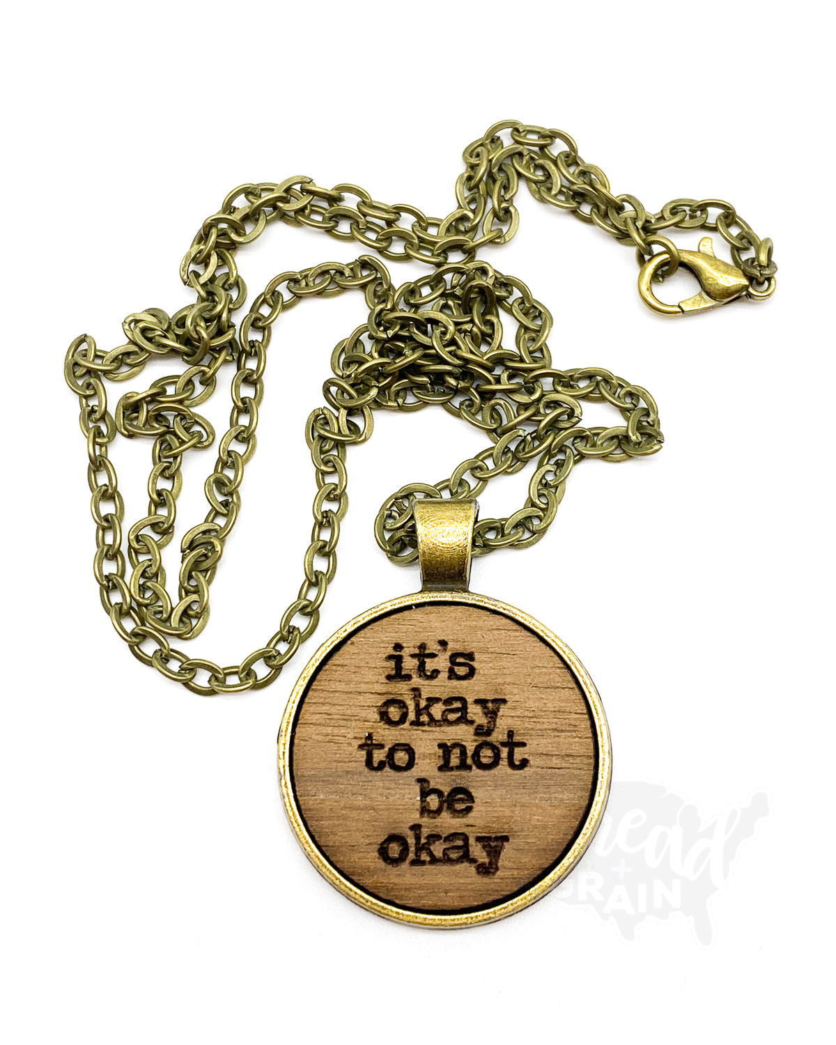 It's Okay to Not Be Okay :: Laser Engraved, Wooden, Disc-Mounted NECKLACE