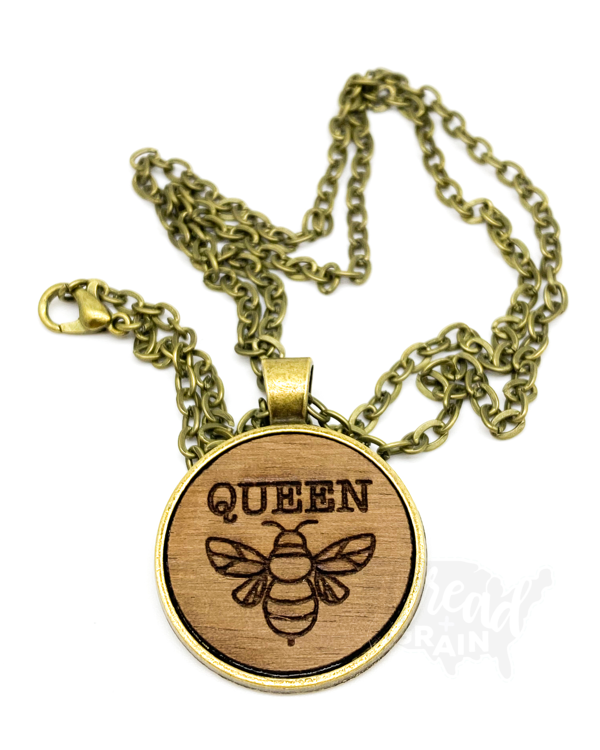 Queen Bee :: Laser Engraved, Wooden, Disc-Mounted NECKLACE