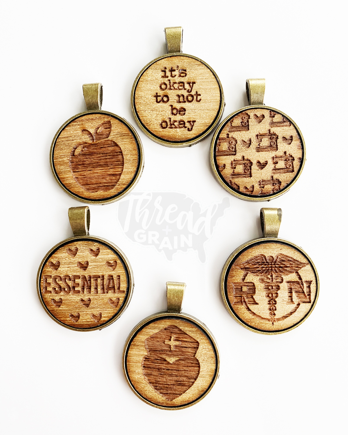 Essential Workers :: Laser Engraved, Wooden, Disc-Mounted NECKLACE