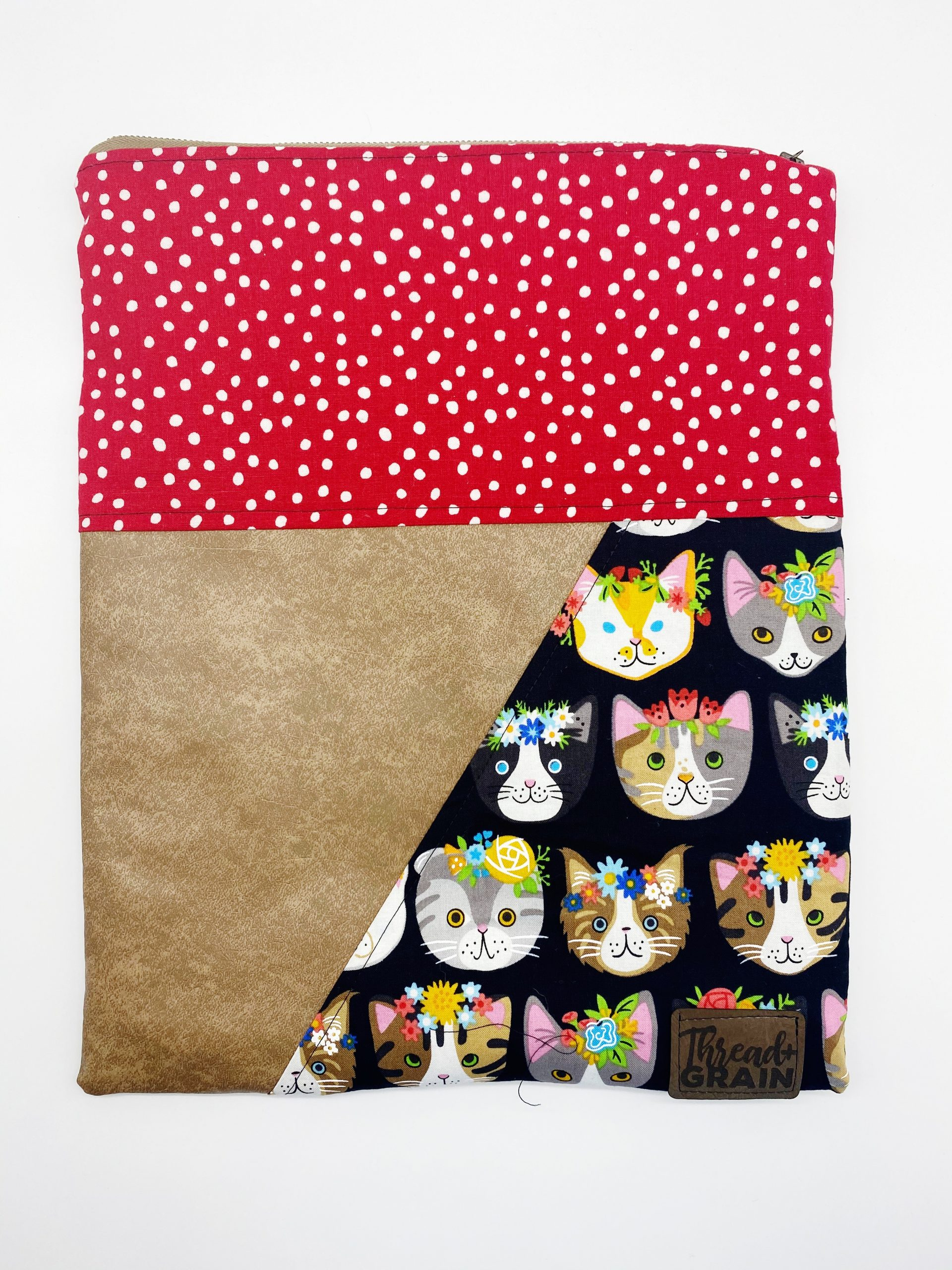 Evelyn Fold-Over Clutch :: Kitties + Red Polka Dots